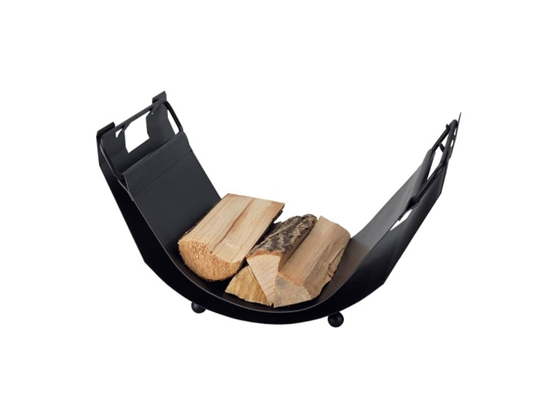 Elegancki kosz na drewno w kształcie hamaku, wypełnienie z czarnej ekoskóry