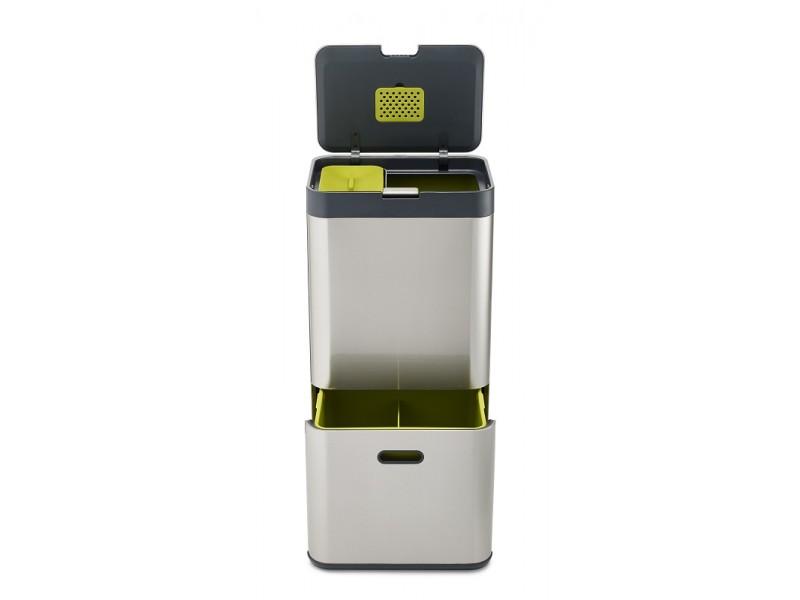 Elegancki kosz do segregowania śmieci z kompostownikiem TOTEM Intellient Waste, stalowy, 60 litrów