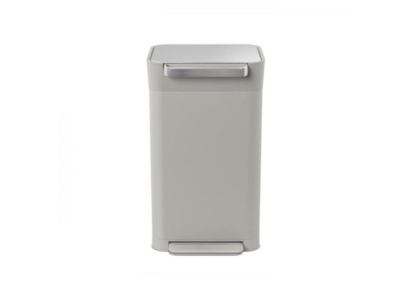 Elegancki, jasnoszary kosz na śmieci TITAN z kolekcji Intelligent Waste, system zgniatania śmieci i filtr węglowy, 30 litrów