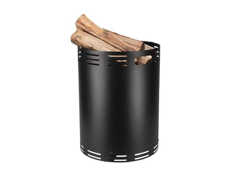 Stalowy kosz na drewno z ażurowym wzorem w paski, czarny