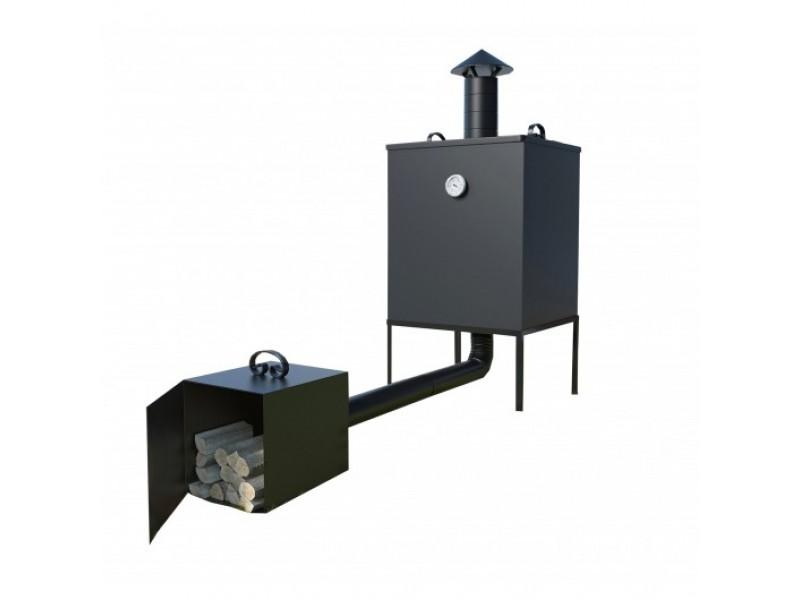 Wędzarnia metalowa z komorą, paleniskiem i stelażem