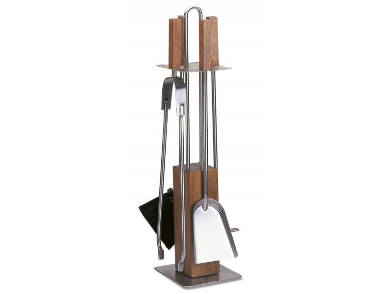 Komplet akcesoriów kominkowych na drewnianym stojaku, stal szlachetna INOX