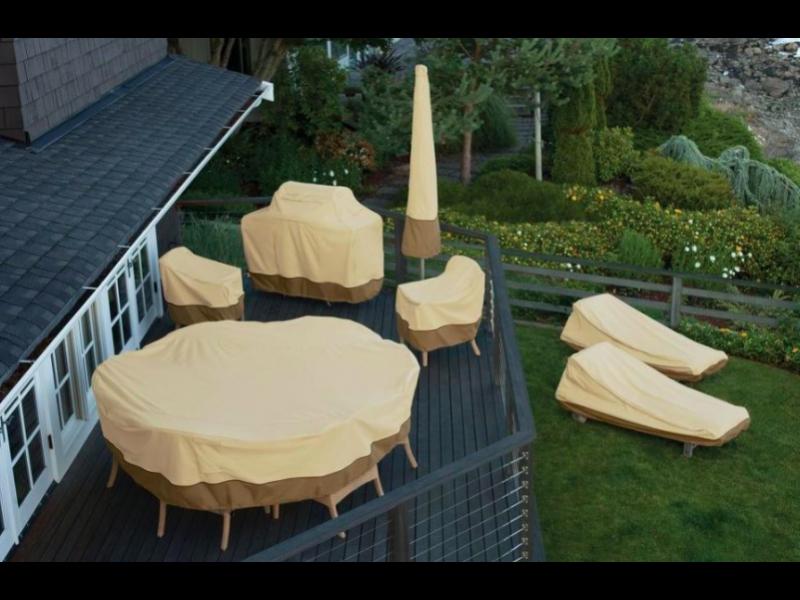Okrągły lub prostokątny pokrowiec na meble ogrodowe