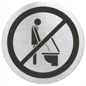 Stalowa, matowa tabliczka na drzwi - zakaz korzystania z toalety na stojąco