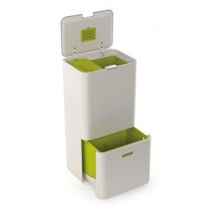 Nowoczesny kosz do segregacji śmieci TOTEM z filtrem węglowym i dwiema komorami, Intelligent Waste, 60 litrów