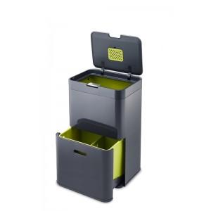 Grafitowy kosz do segregacji śmieci z dwiema komorami TOTEM z filtrem Intelligent Waste