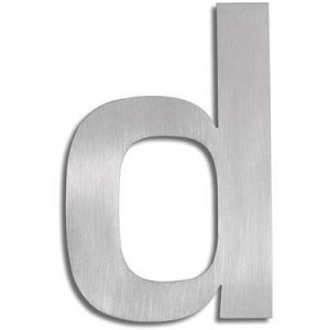 """Duża litera z matowej stali nierdzewnej - """"D"""""""