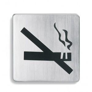 Stalowy, prostokątny szyld na drzwi - zakaz palenia