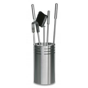 Akcesoria kominkowe z cylindrycznym kubełkiem, stal nierdzewna INOX