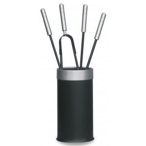 Stylowe akcesoria kominkowe w cylindrycznym kubełku, stal lakierowana czarna + srebrne dodatki