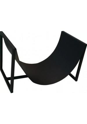 Designerski stojak na drewno kominkowe, czarny