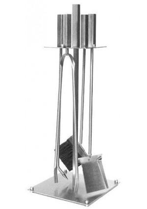 Akcesoria kominkowe z uchwytami w kształcie prostopadłościanu, stal szlachetna INOX satyna