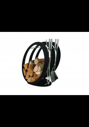 Okrągły stojak na drewno z akcesoriami do kominka