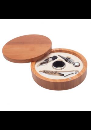 Dreamwood Elegancki zestaw do wina w pudełku z drewna bambusowego