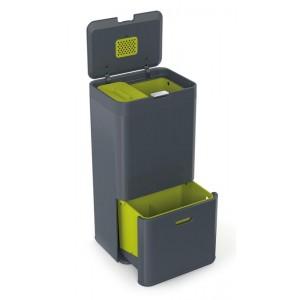 Segregacja śmieci - kosz TOTEM z filtrem węglowym Intelligent Waste, grafitowo-zielony, 60 litrów