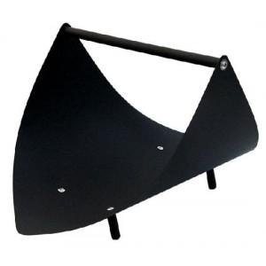 Minimalistyczny kosz na drewno kominkowe, stal lakierowana czarna