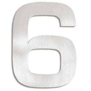 """Wyraźna, stalowa cyfra na dom - """"6"""""""
