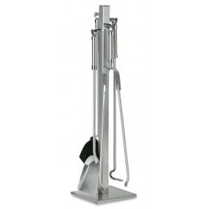 Komplet akcesoriów kominkowych ze stojakiem na kwadratowej podstawie, stal szlachetna INOX