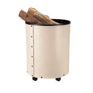 Stylowy kosz na drewno na kółkach, ekoskóra kremowa