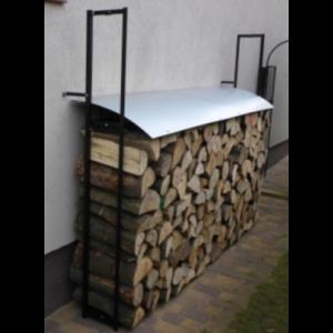 Duży stojak na drewno kominkowe z daszkiem, suszarka na drewno.