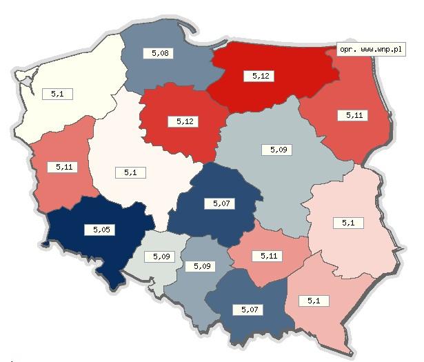 Zróżnicowanie cen benzyny E95 w różnych województwach w Polsce