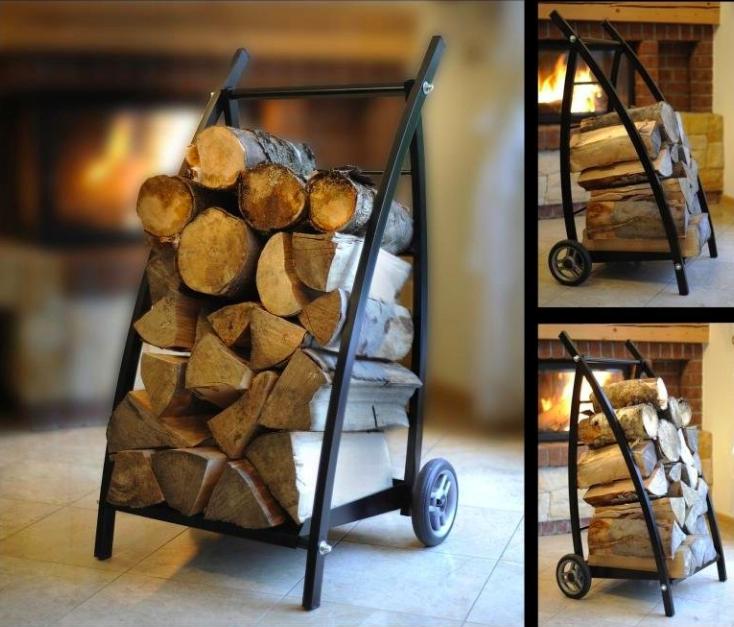 wózek i regał na drewno kominkowe 2w1